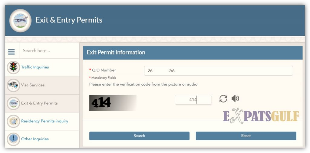 MOI Qatar for Exit permit check enter the QID and verification code