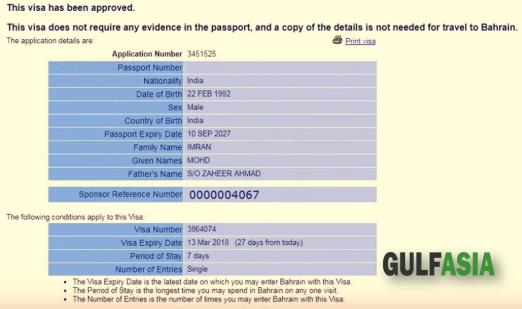 Bahrain valid visa online check