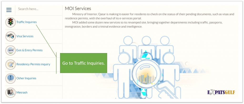 Click on Traffic Inquires as in this picture