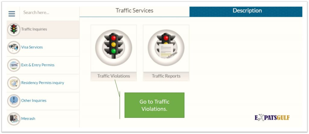 Click on Traffic Violations as above