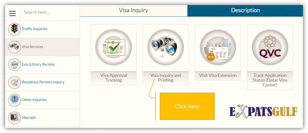 Click on Visa Inquiry and Printing