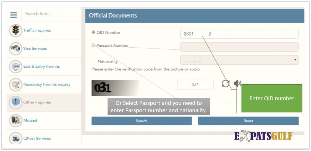 Enter Your QID Number or Chose Passport and Enter Nationality