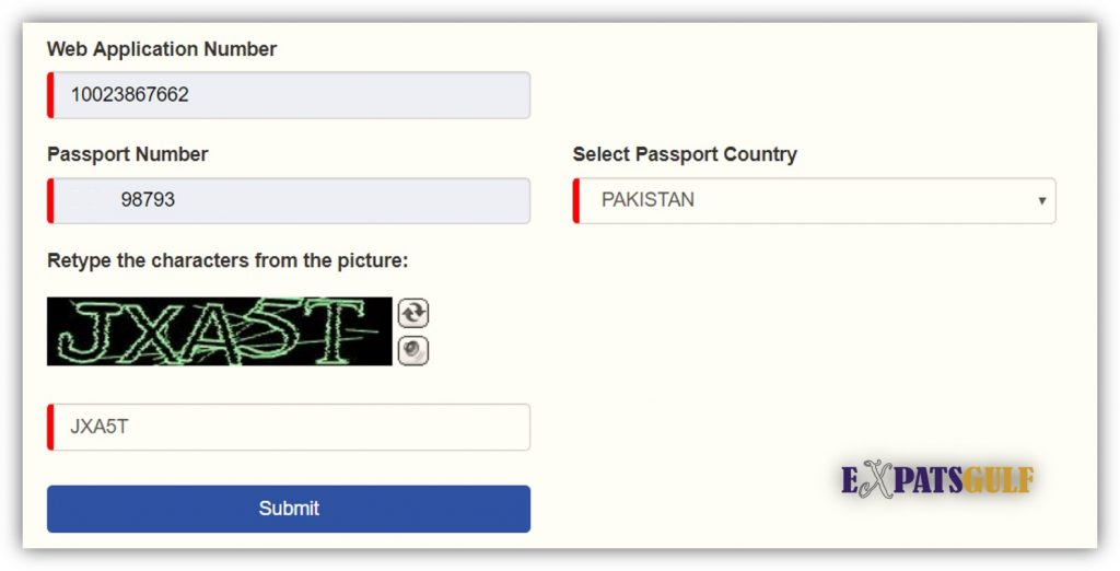 Put Web Application number and passport number, country to check visa status