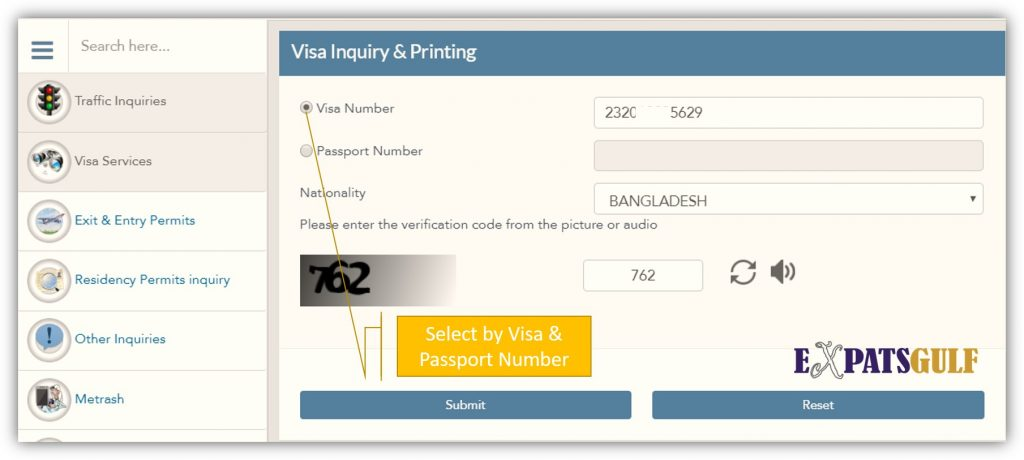 Select by Visa Number or Passport Number