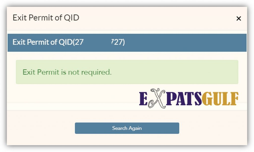 MOI Qatar for Exit permit not required in this case