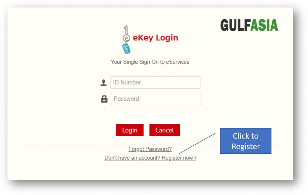 Click to register for Bahrain ekey account