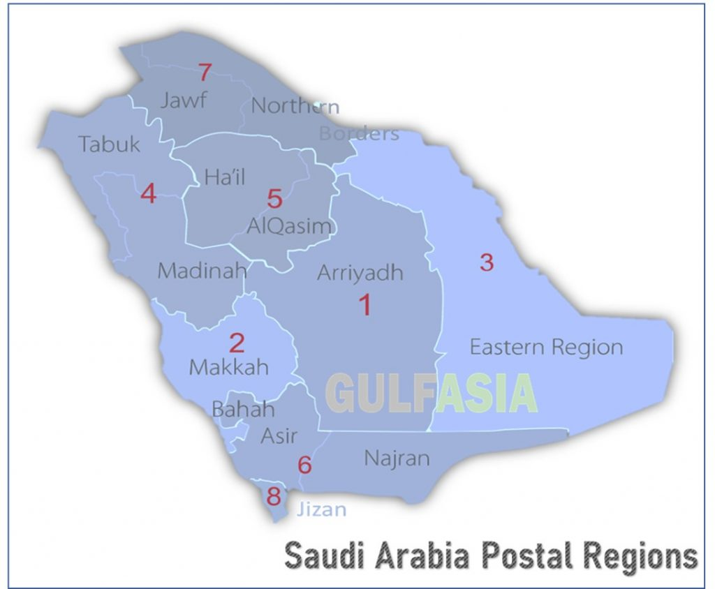 Saudi Arabia Post Codes Region wise